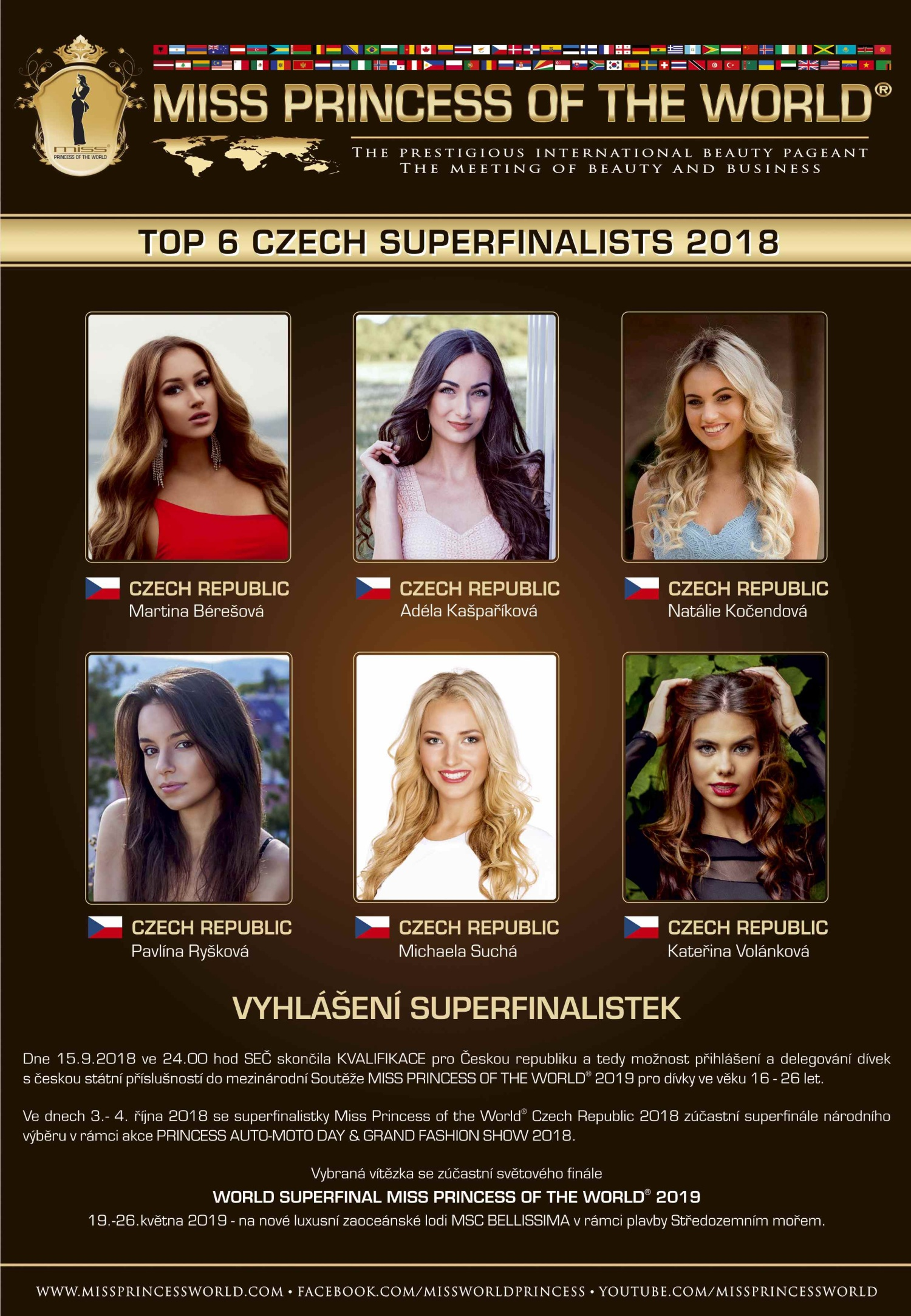 TOP 6 CZECH SUPERFINALISTS of MISS PRINCESS OF THE WORLD® Czech Republic 2018
